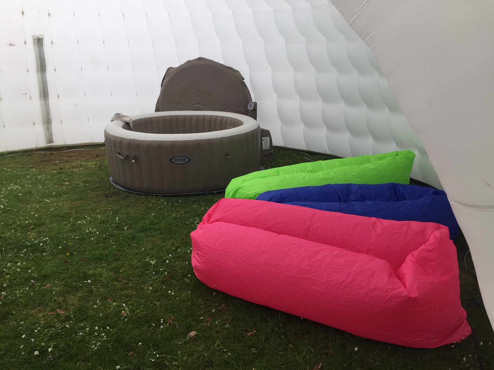 Air Loungers And Hot Tub Inside Igloo