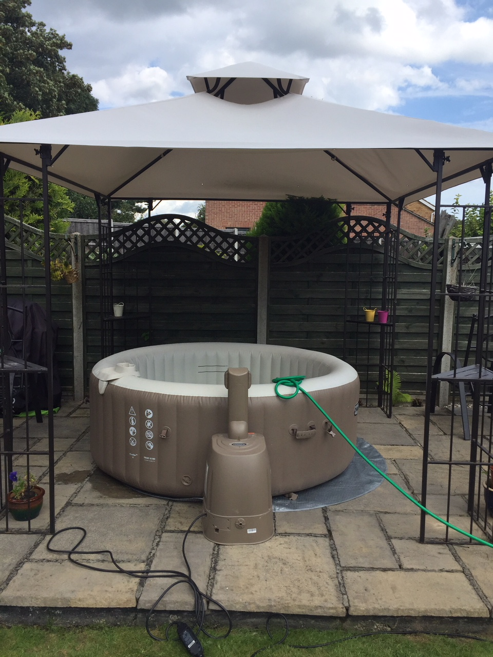 Inflatable and Mobile Hot tub in a Gazebo