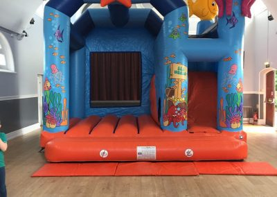 Sea World Bouncy Castle inflated inside a village hall